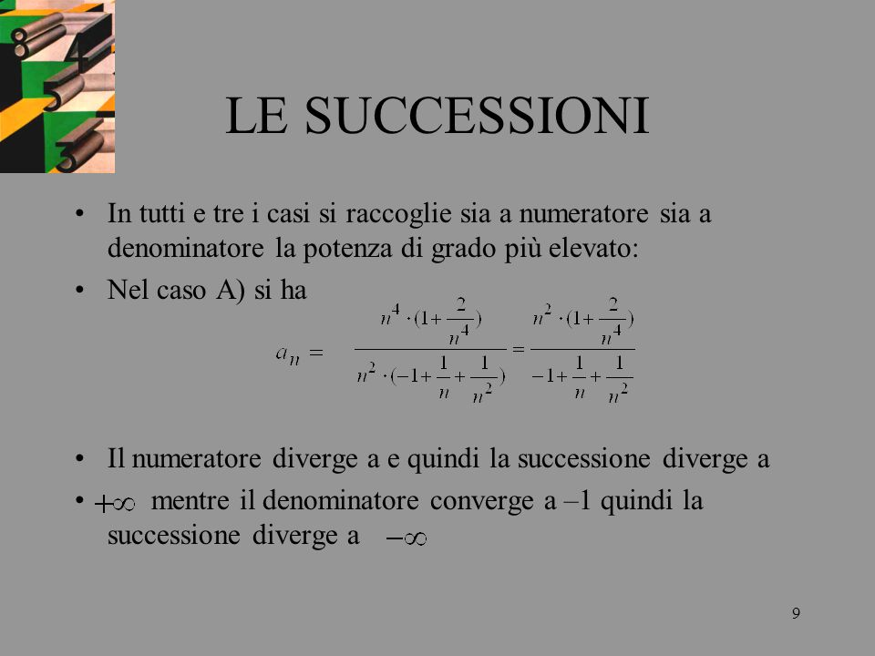 LE SUCCESSIONIIn tutti e tre i casi si raccoglie sia a numeratore sia a denominatore la potenza di grado più elevato:
