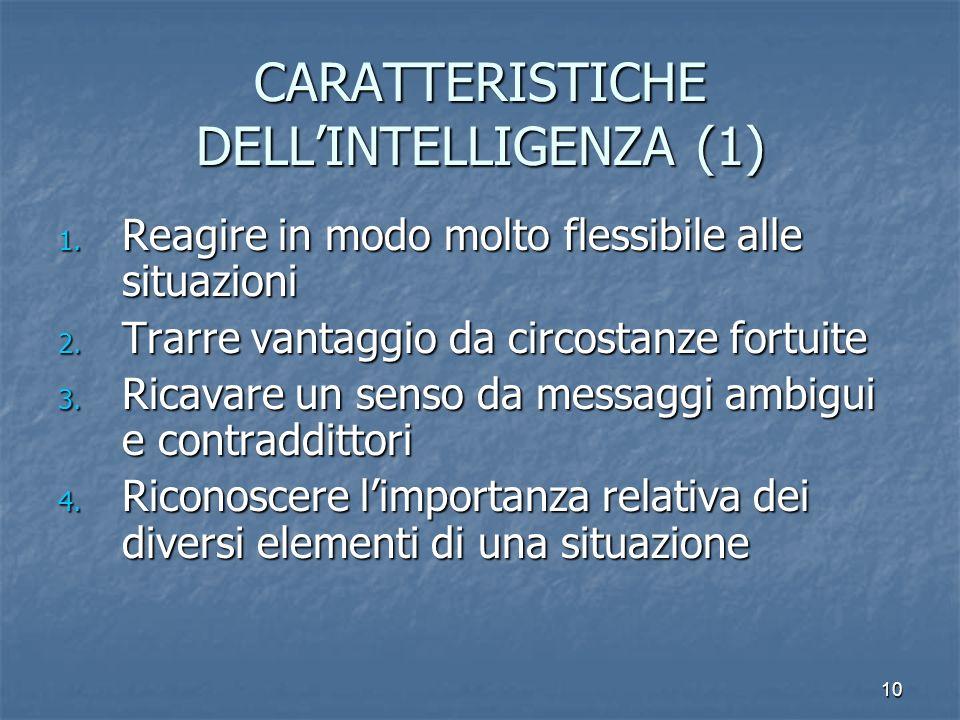 CARATTERISTICHE DELL'INTELLIGENZA (1)