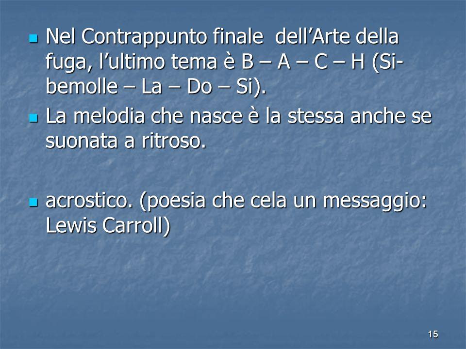 Nel Contrappunto finale dell'Arte della fuga, l'ultimo tema è B – A – C – H (Si-bemolle – La – Do – Si).