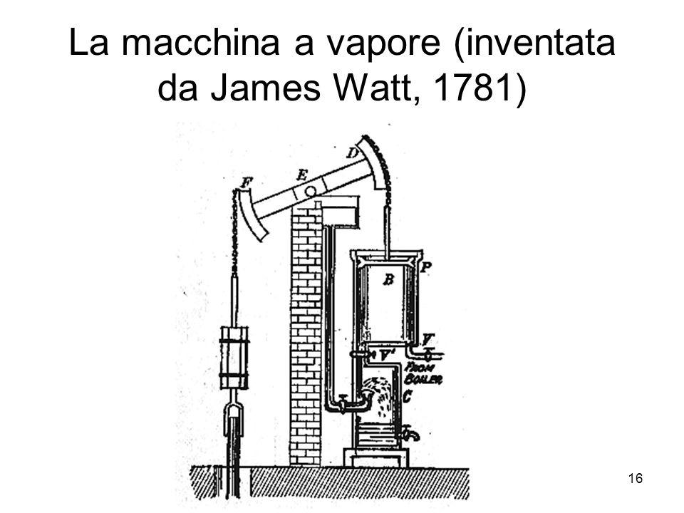 La macchina a vapore (inventata da James Watt, 1781)