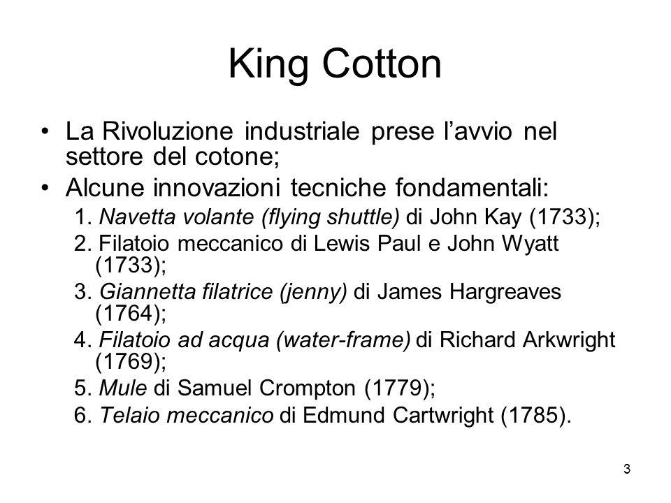 King Cotton La Rivoluzione industriale prese l'avvio nel settore del cotone; Alcune innovazioni tecniche fondamentali: