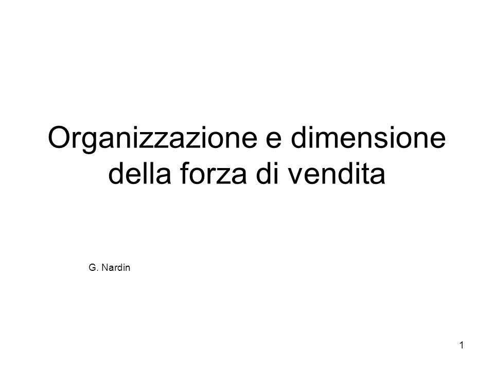Organizzazione e dimensione della forza di vendita