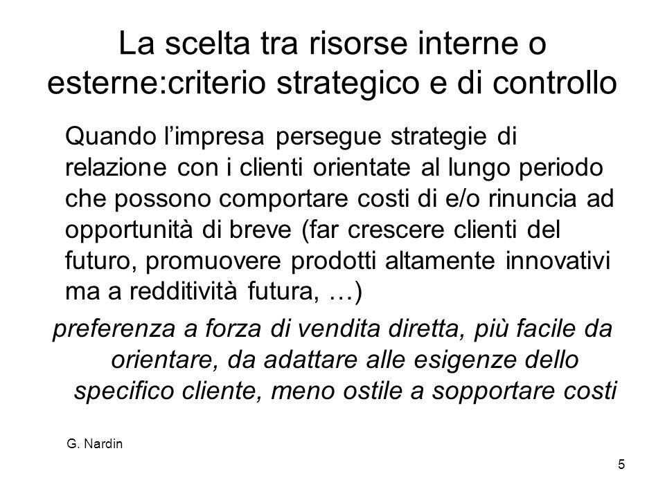 La scelta tra risorse interne o esterne:criterio strategico e di controllo