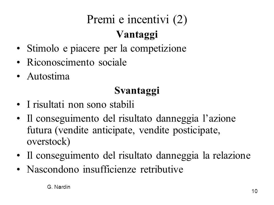 Premi e incentivi (2) Vantaggi Stimolo e piacere per la competizione