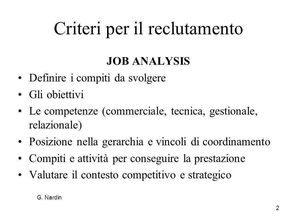 Criteri per il reclutamento