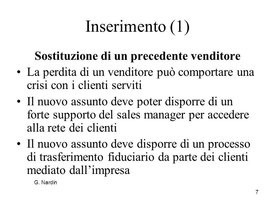 Sostituzione di un precedente venditore