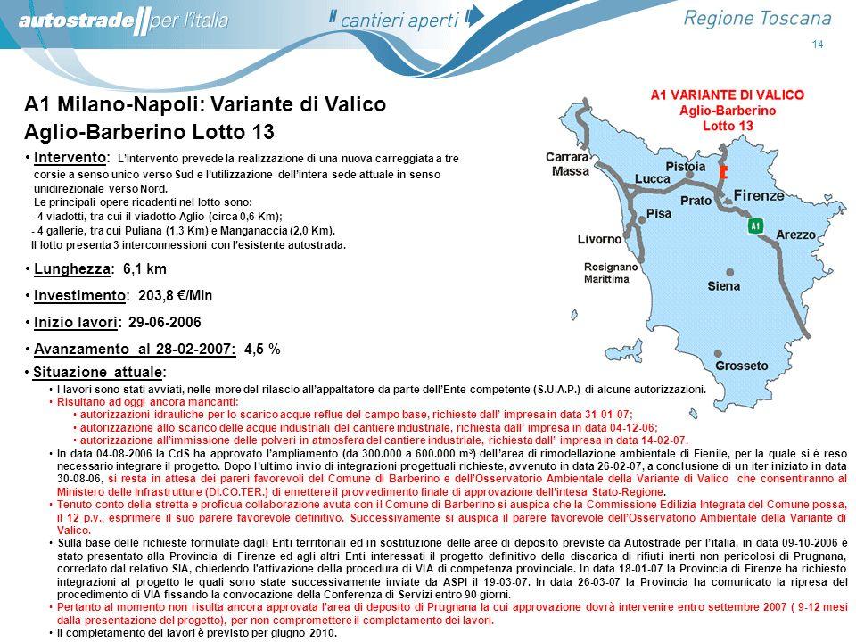 A1 Milano-Napoli: Variante di Valico Aglio-Barberino Lotto 13
