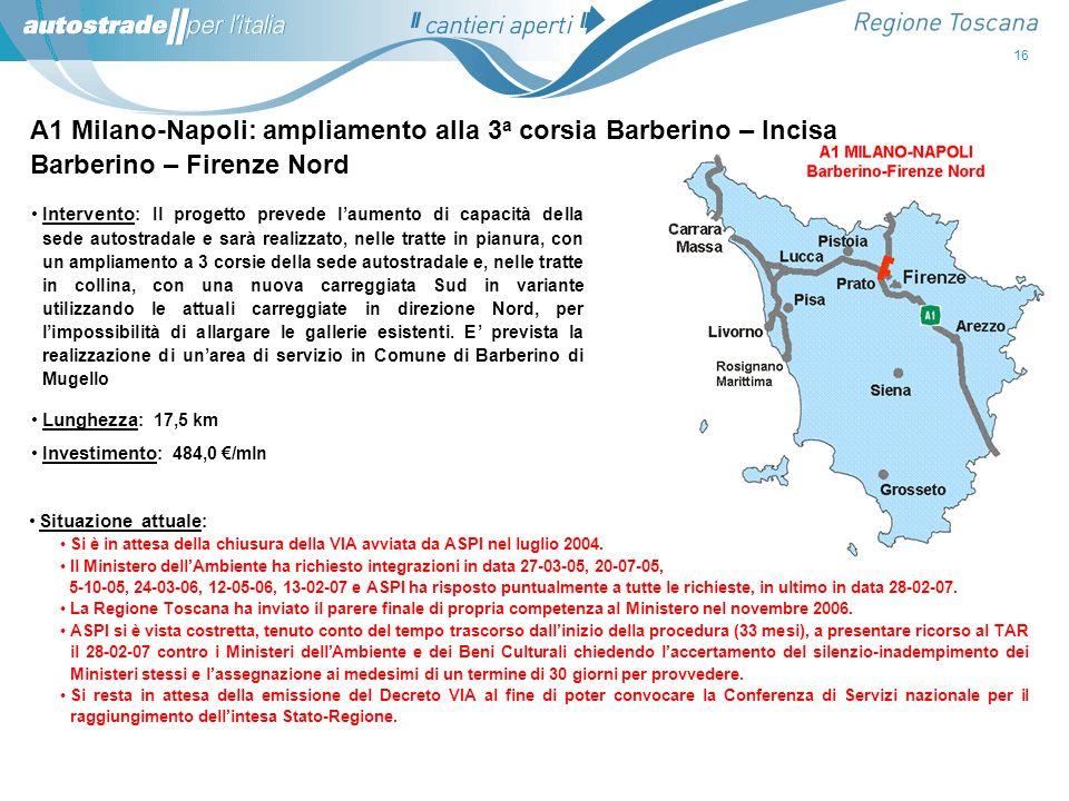 A1 Milano-Napoli: ampliamento alla 3a corsia Barberino – Incisa