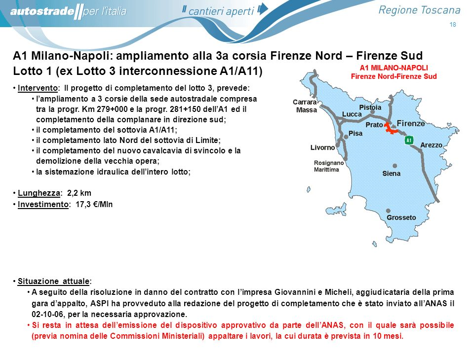 Lotto 1 (ex Lotto 3 interconnessione A1/A11)