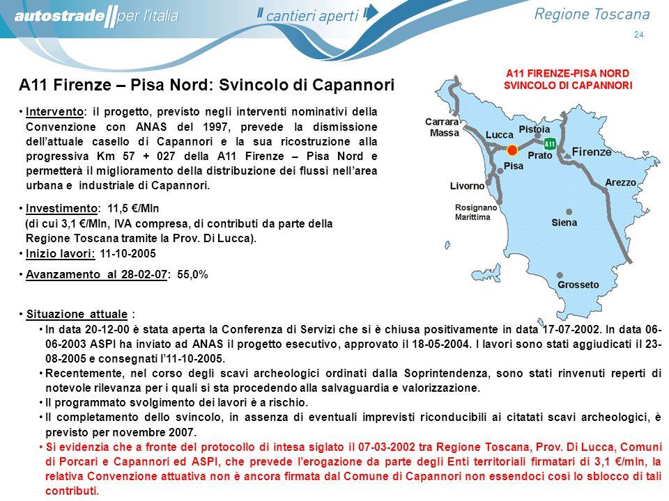A11 Firenze – Pisa Nord: Svincolo di Capannori