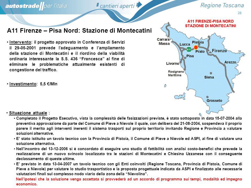 A11 Firenze – Pisa Nord: Stazione di Montecatini