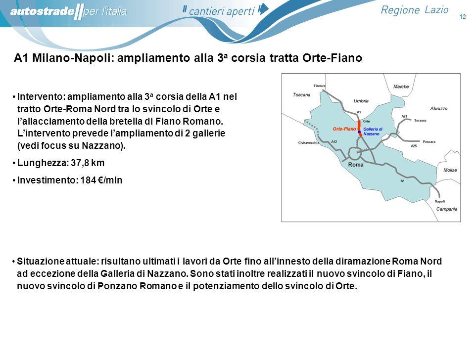 A1 Milano-Napoli: ampliamento alla 3a corsia tratta Orte-Fiano