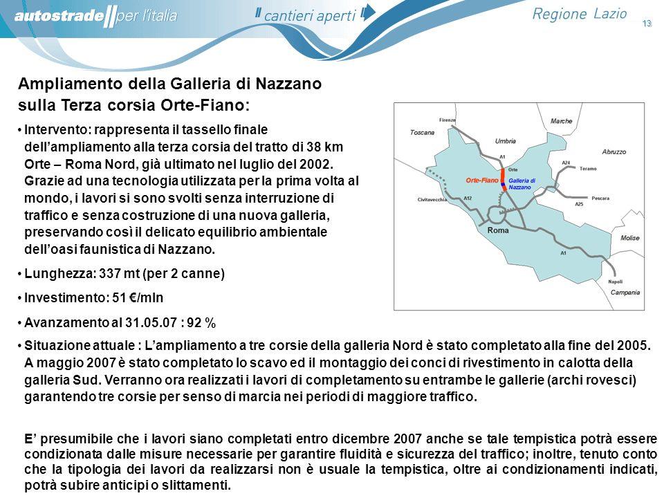 Ampliamento della Galleria di Nazzano sulla Terza corsia Orte-Fiano:
