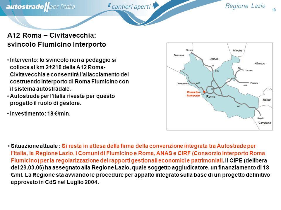 A12 Roma – Civitavecchia: svincolo Fiumicino Interporto