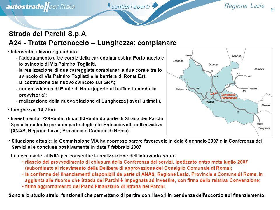 A24 - Tratta Portonaccio – Lunghezza: complanare