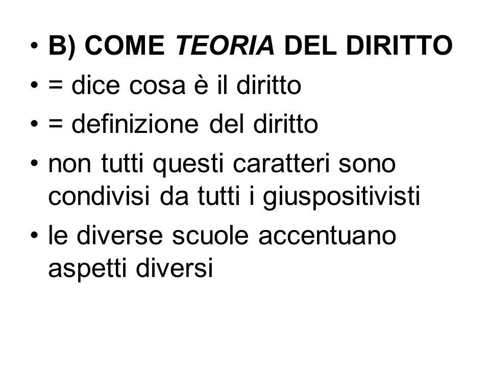 B) COME TEORIA DEL DIRITTO