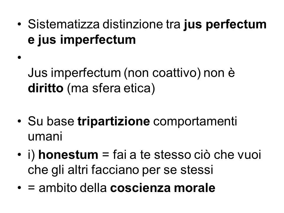 Sistematizza distinzione tra jus perfectum e jus imperfectum
