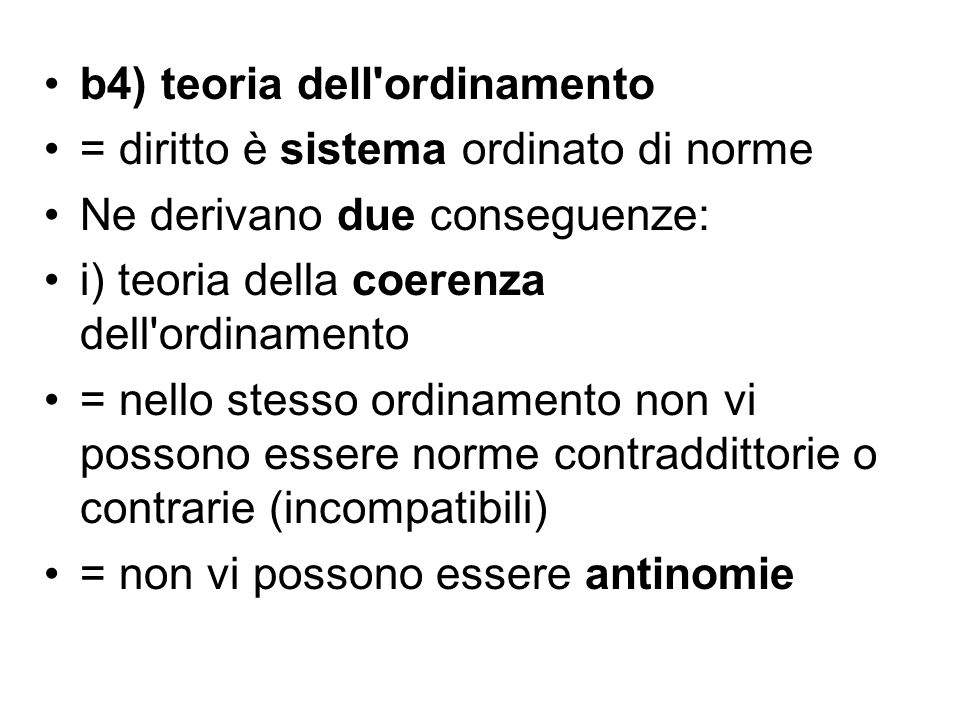 b4) teoria dell ordinamento