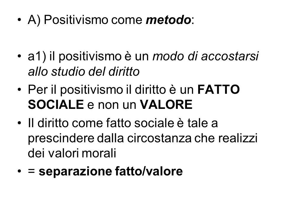 A) Positivismo come metodo: