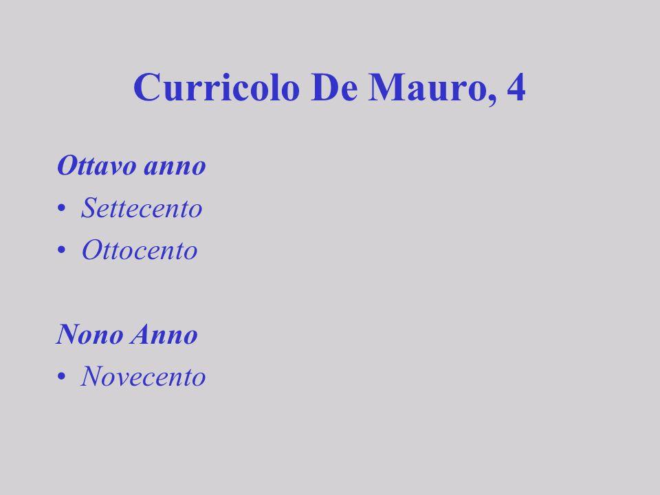 Curricolo De Mauro, 4 Ottavo anno Settecento Ottocento Nono Anno