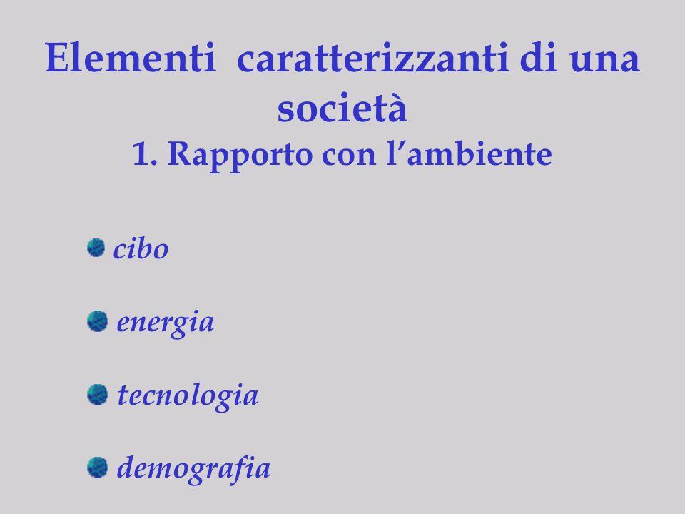 Elementi caratterizzanti di una società 1. Rapporto con l'ambiente