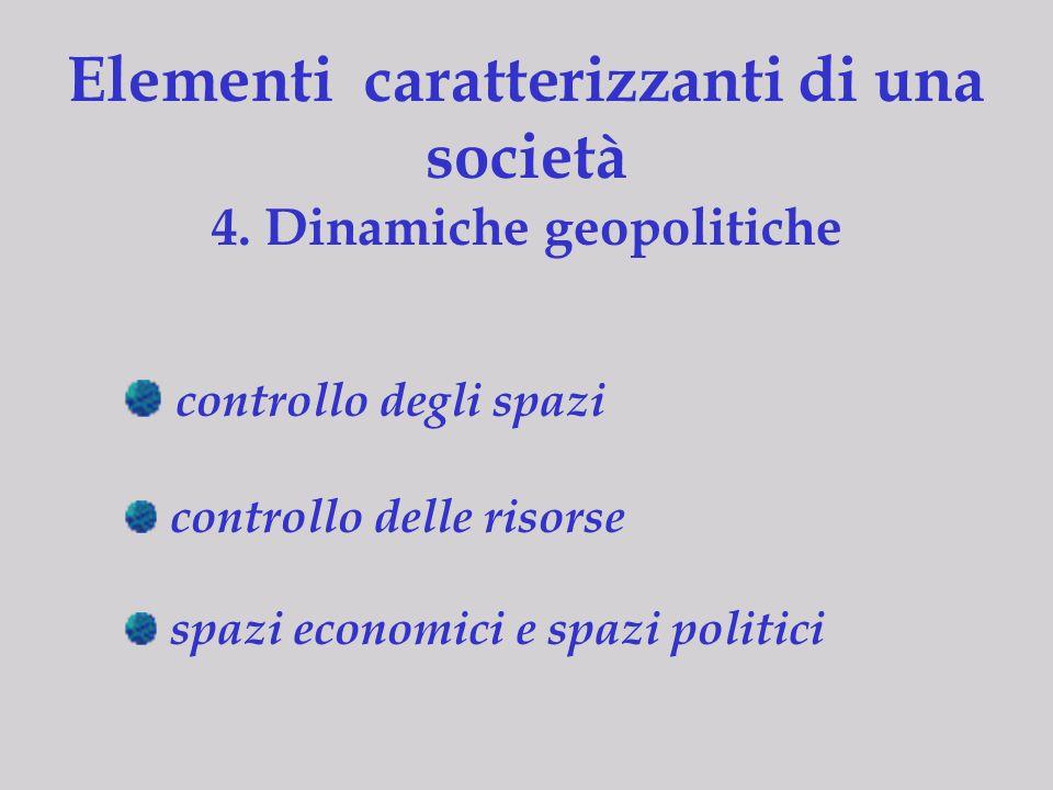 Elementi caratterizzanti di una società 4. Dinamiche geopolitiche