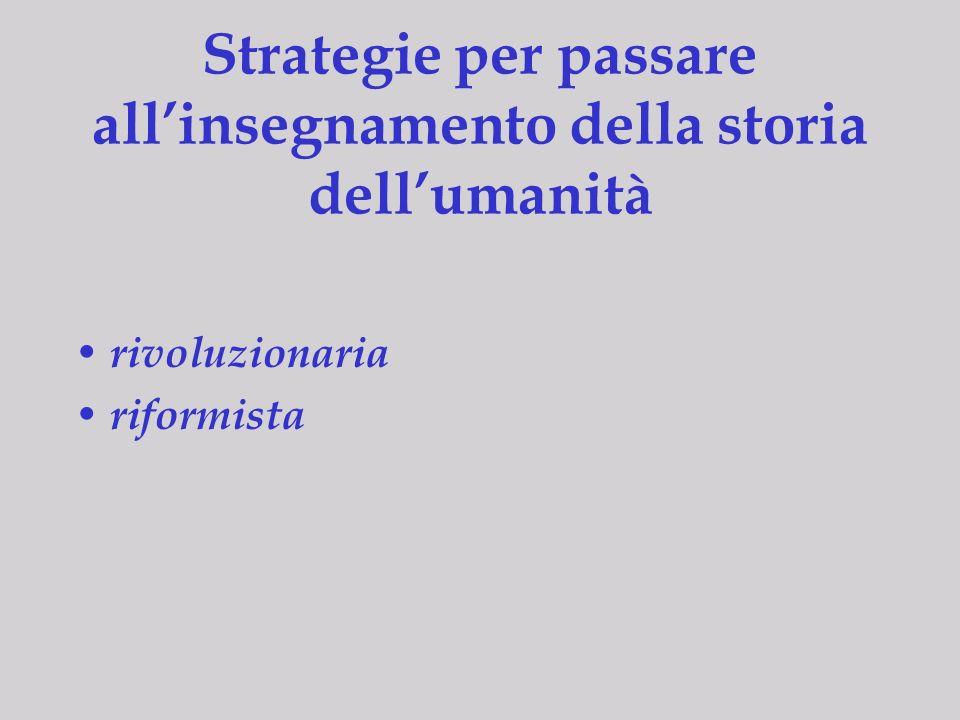 Strategie per passare all'insegnamento della storia dell'umanità