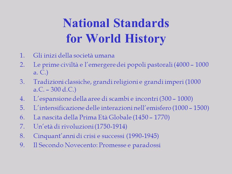 National Standards for World History