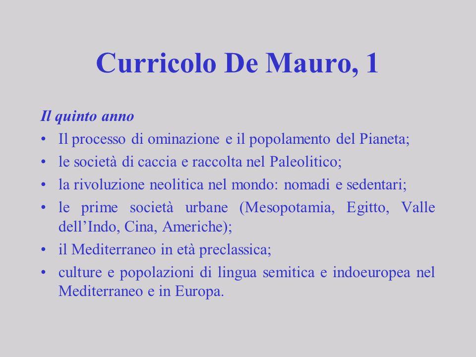 Curricolo De Mauro, 1 Il quinto anno