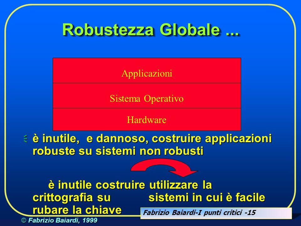 Robustezza Globale ... Applicazioni. Sistema Operativo. Hardware. è inutile, e dannoso, costruire applicazioni robuste su sistemi non robusti.