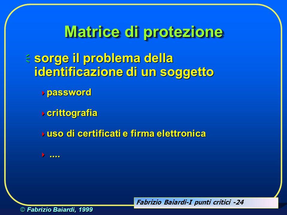 Matrice di protezione sorge il problema della identificazione di un soggetto. password. crittografia.