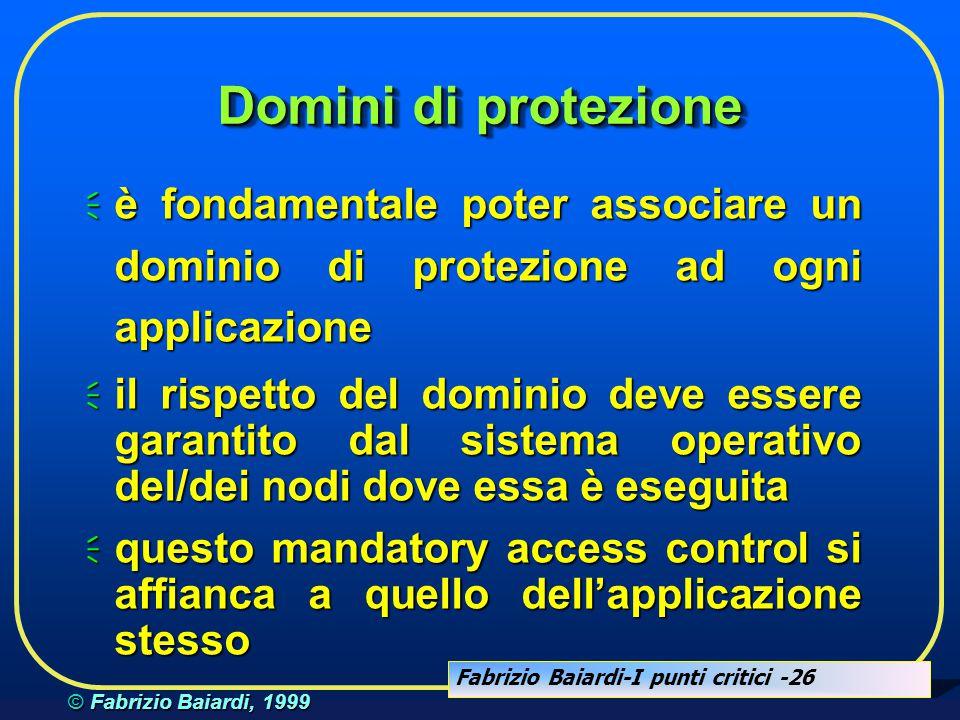 Domini di protezione è fondamentale poter associare un dominio di protezione ad ogni applicazione.