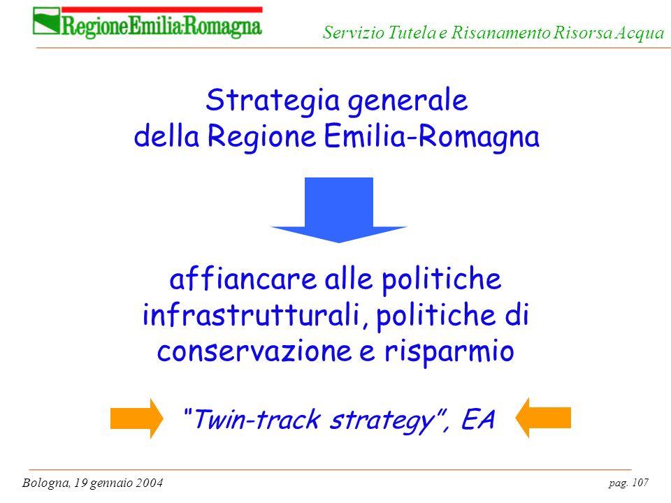 Strategia generale della Regione Emilia-Romagna affiancare alle politiche infrastrutturali, politiche di conservazione e risparmio Twin-track strategy , EA