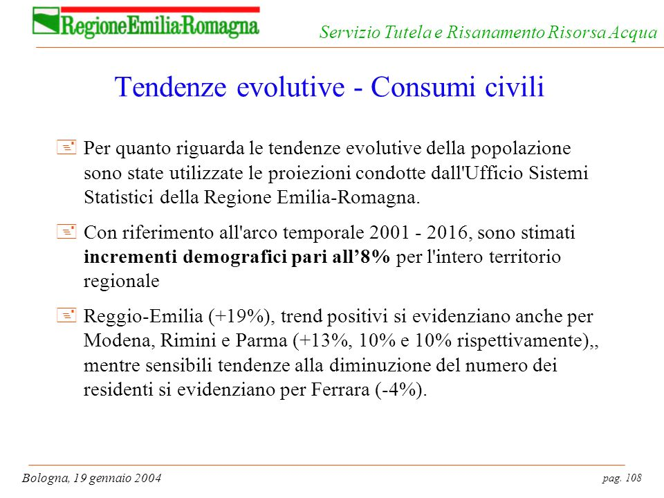 Tendenze evolutive - Consumi civili