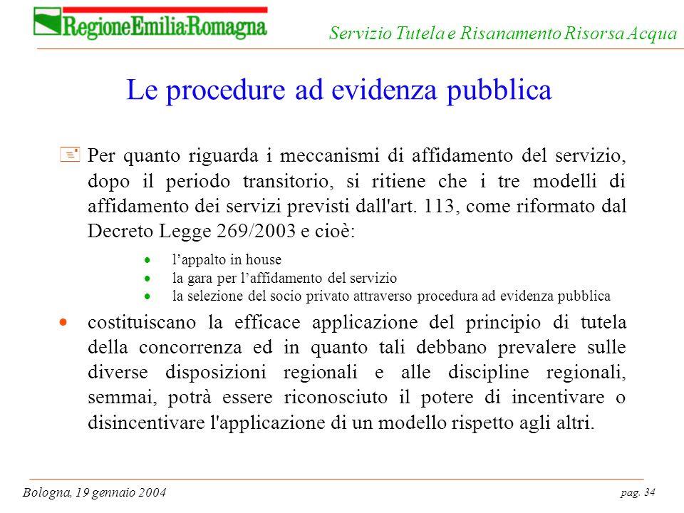 Le procedure ad evidenza pubblica