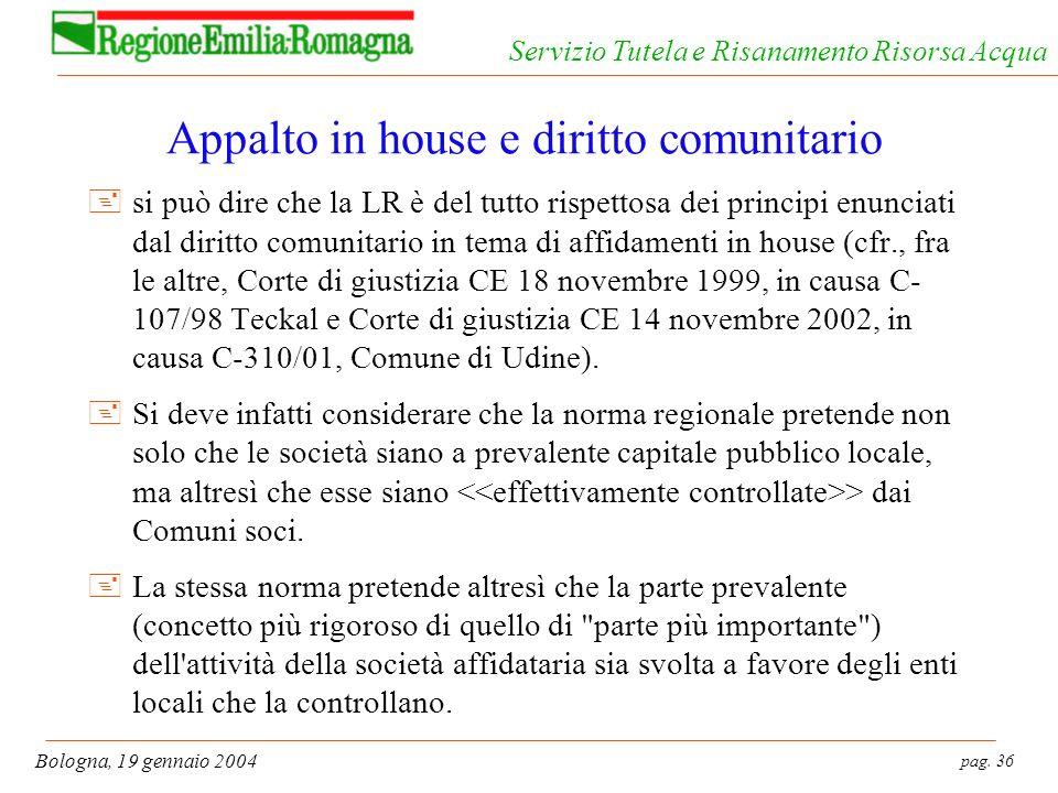 Appalto in house e diritto comunitario