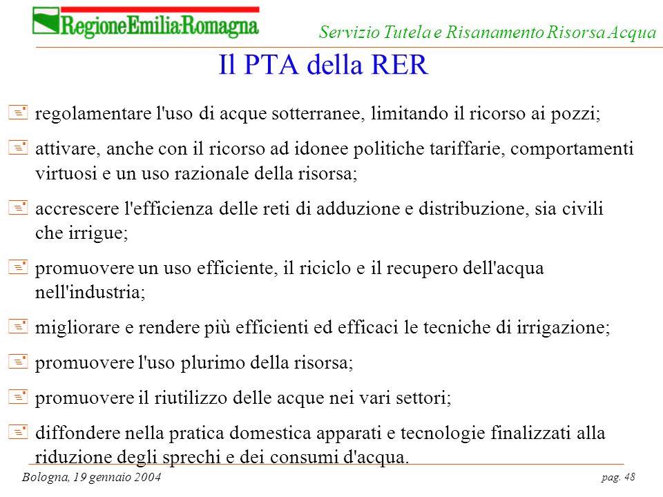 Il PTA della RER regolamentare l uso di acque sotterranee, limitando il ricorso ai pozzi;