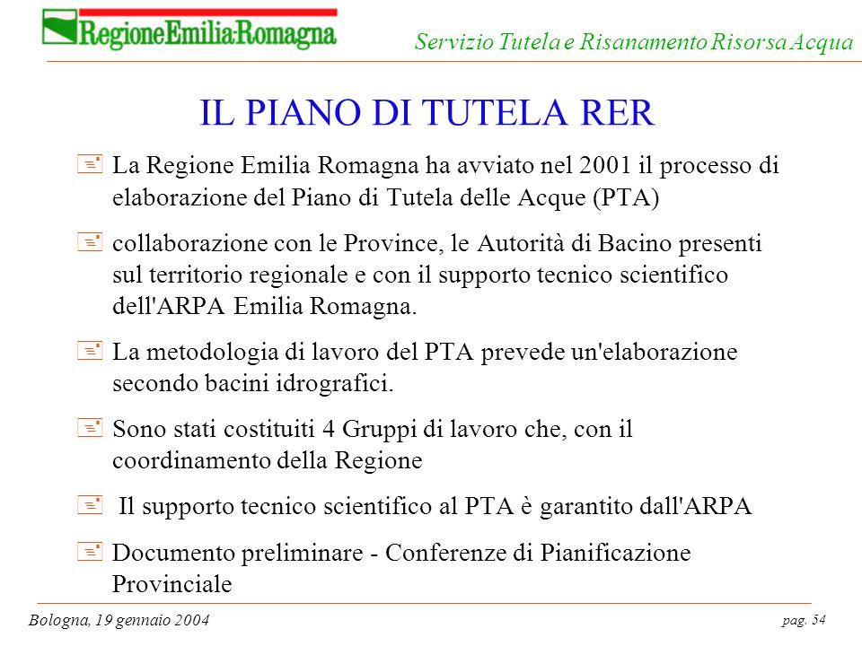 IL PIANO DI TUTELA RER La Regione Emilia Romagna ha avviato nel 2001 il processo di elaborazione del Piano di Tutela delle Acque (PTA)
