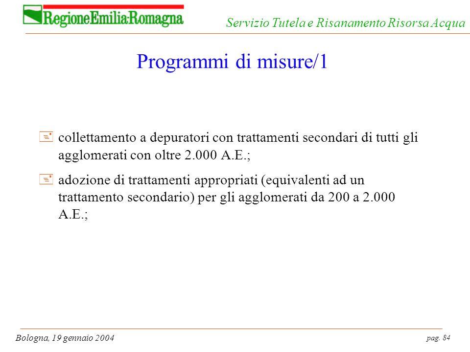 Programmi di misure/1 collettamento a depuratori con trattamenti secondari di tutti gli agglomerati con oltre 2.000 A.E.;