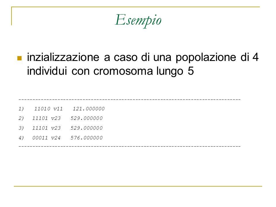 Esempio inzializzazione a caso di una popolazione di 4 individui con cromosoma lungo 5.