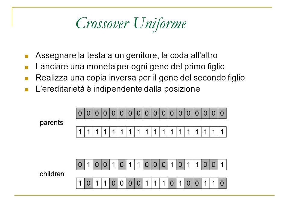 Crossover Uniforme Assegnare la testa a un genitore, la coda all'altro