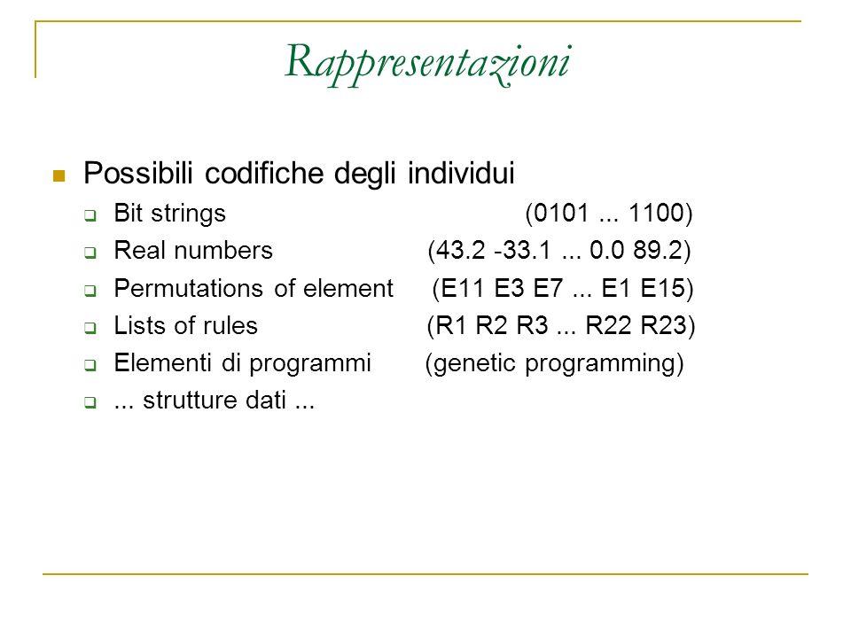 Rappresentazioni Possibili codifiche degli individui