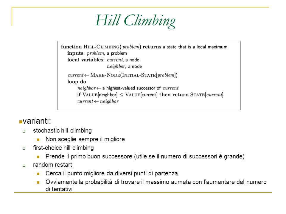 Hill Climbing varianti: stochastic hill climbing