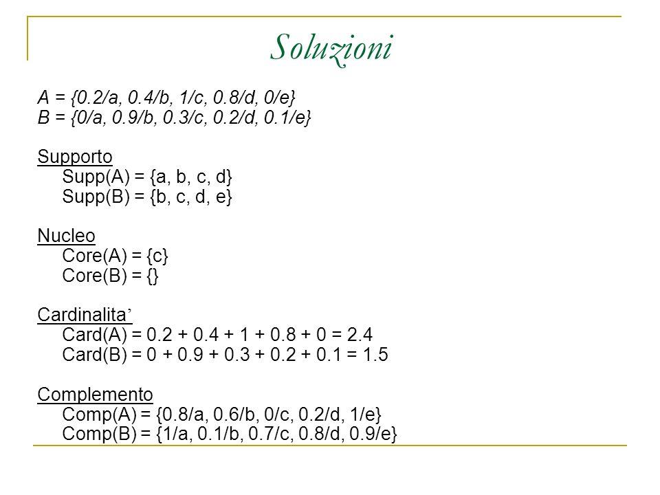 Soluzioni A = {0.2/a, 0.4/b, 1/c, 0.8/d, 0/e}