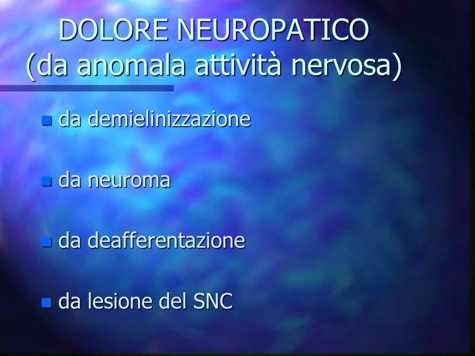 DOLORE NEUROPATICO (da anomala attività nervosa)
