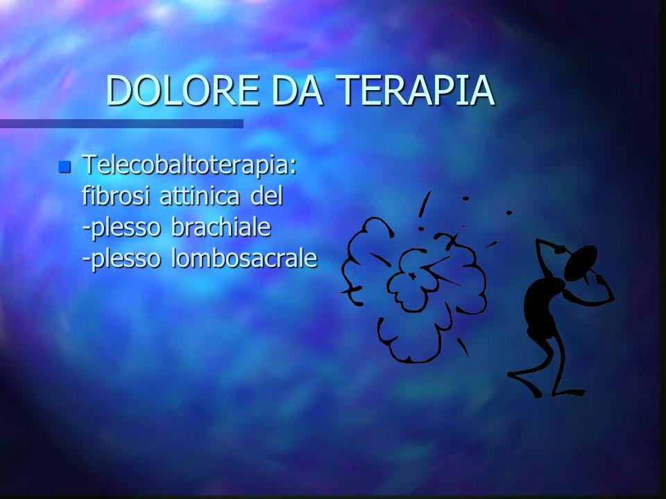 DOLORE DA TERAPIA Telecobaltoterapia: fibrosi attinica del -plesso brachiale -plesso lombosacrale.