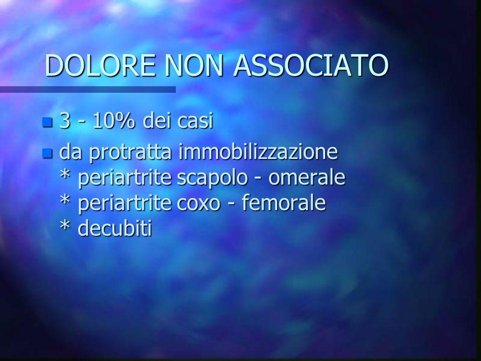 DOLORE NON ASSOCIATO 3 - 10% dei casi