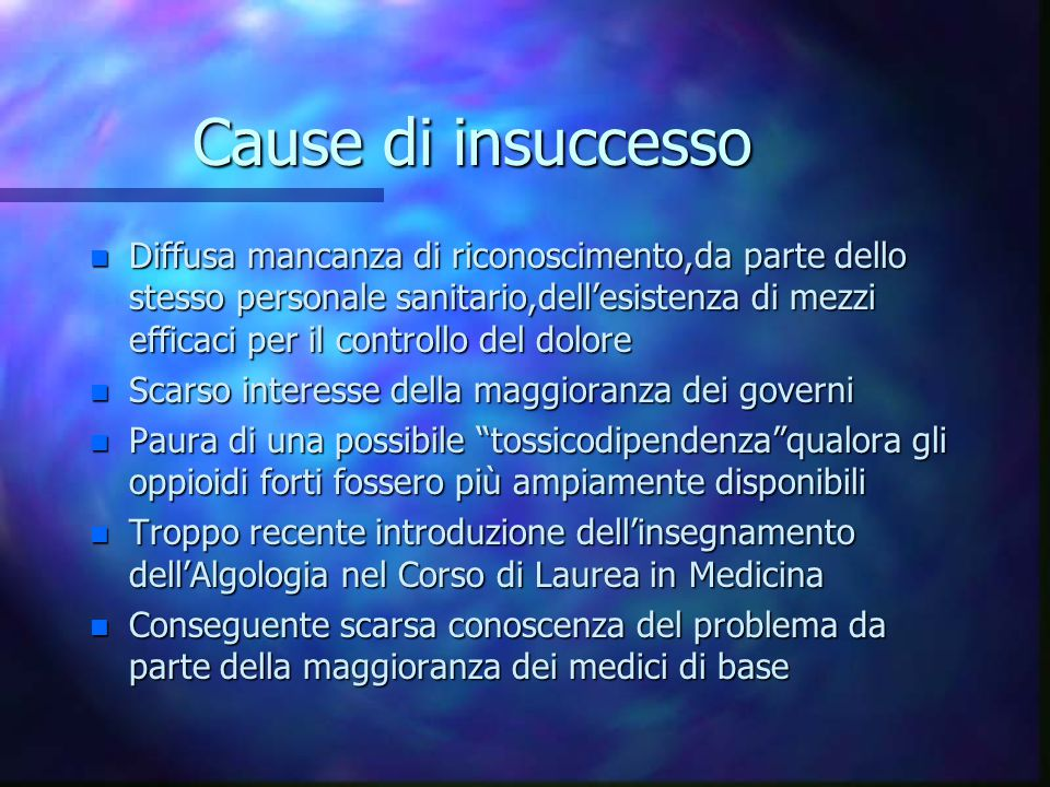 Cause di insuccesso