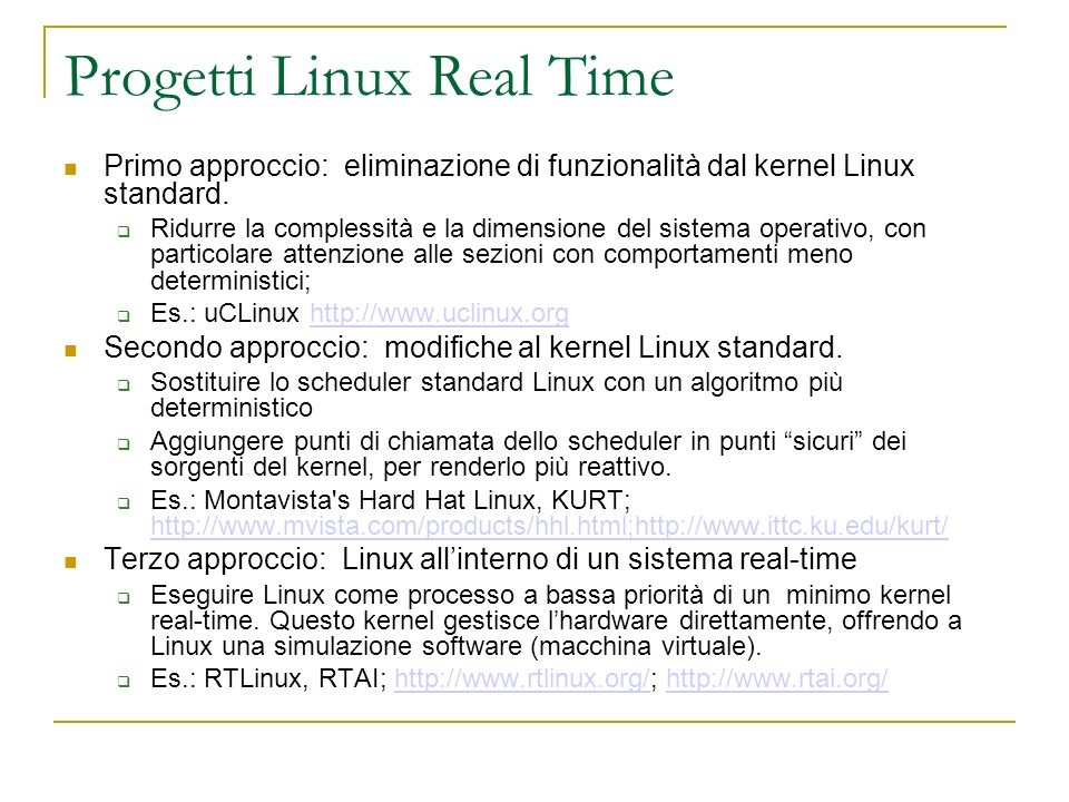 Progetti Linux Real Time