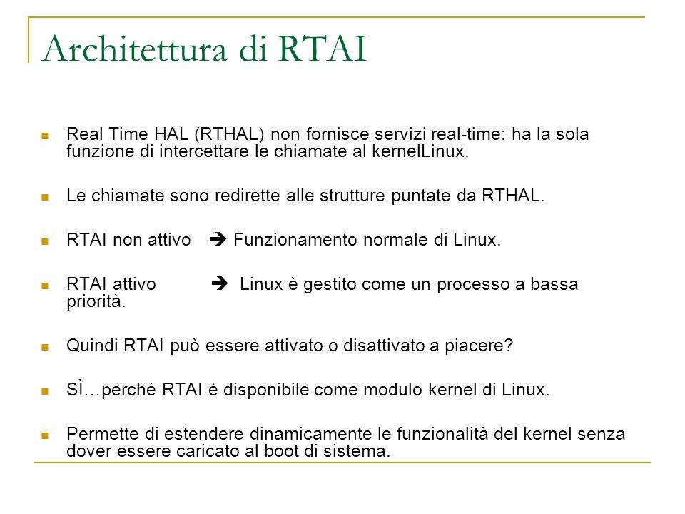 Architettura di RTAI Real Time HAL (RTHAL) non fornisce servizi real-time: ha la sola funzione di intercettare le chiamate al kernelLinux.